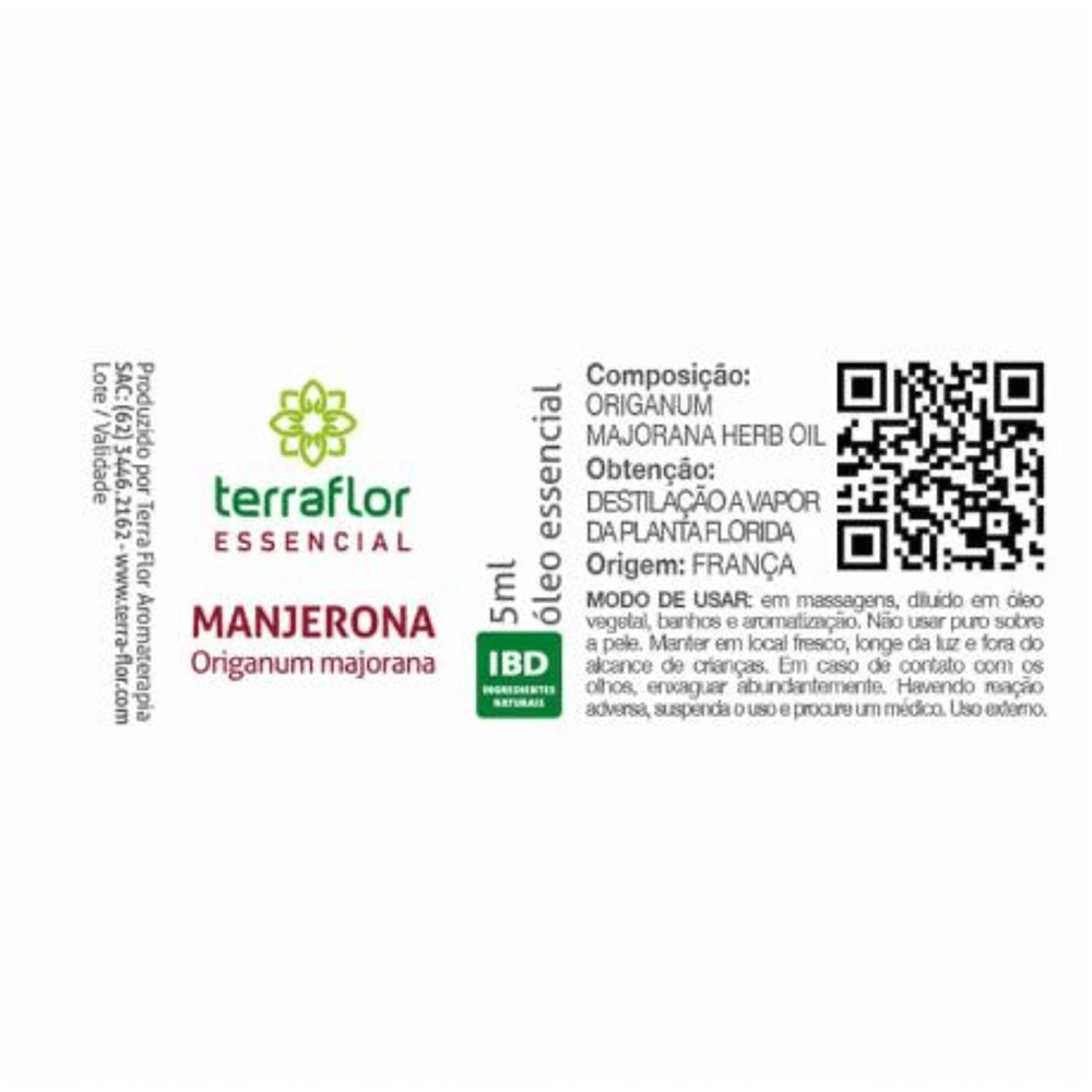 Terra Flor Óleo Essencial Natural de Manjerona 5ml