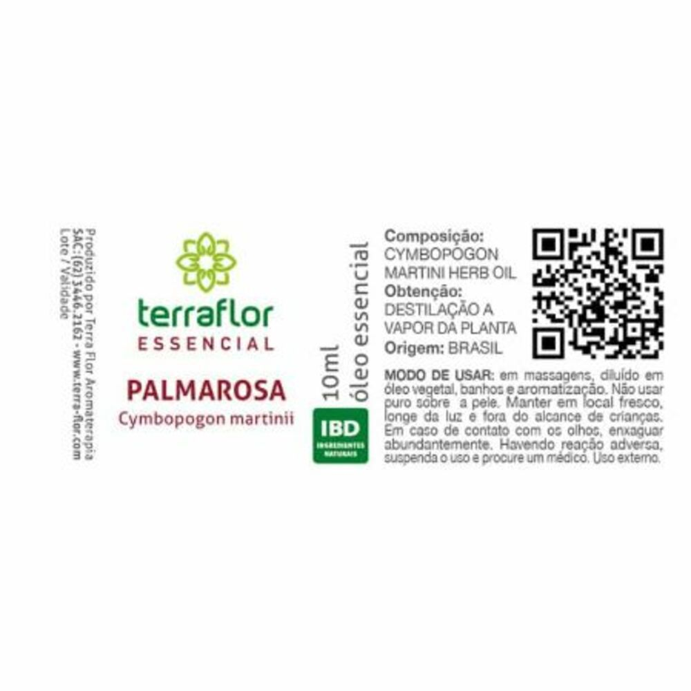 Terra Flor Óleo Essencial Natural de Palmarosa 10ml