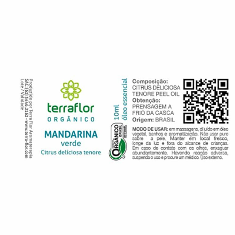 Terra Flor Óleo Essencial Orgânico de Mandarina Verde 10ml