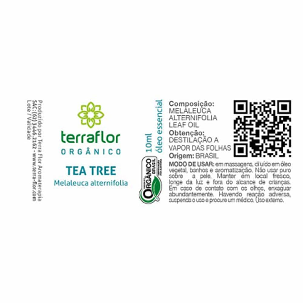 Terra Flor Óleo Essencial Orgânico de Tea Tree Melaleuca 10ml