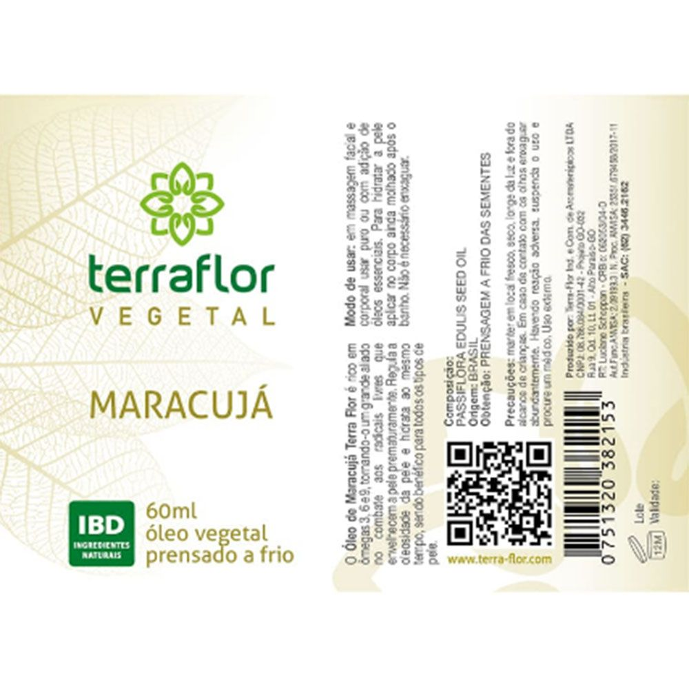Terra Flor Óleo Vegetal Natural de Maracujá 60ml