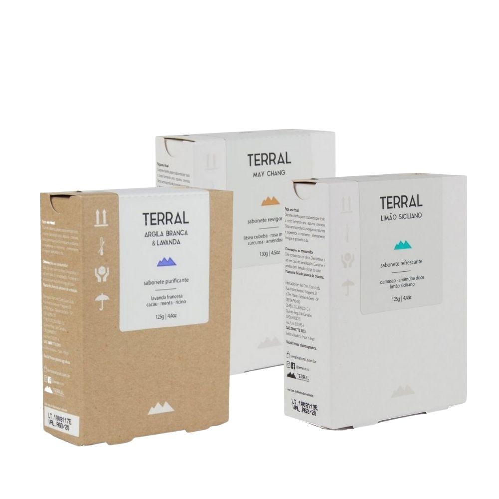 Terral Kit 3 Sabonetes May Chang, Limão Siciliano e Argila Branca