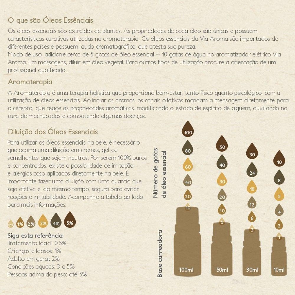 Via Aroma Óleo Essencial Natural de Manjericão 10ml