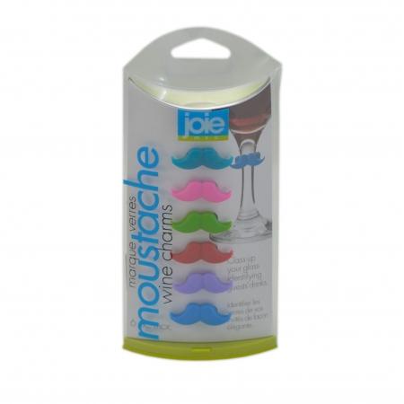 Conjunto de 6 marcadores de taças formato bigode