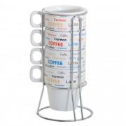 ROJ - CJ 4 XICARAS CAFE DE PORCELANA C/SUPORTE FL