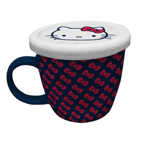 Caneca de Porcelana Com Tampa Laços Hello Kitty - 200ml