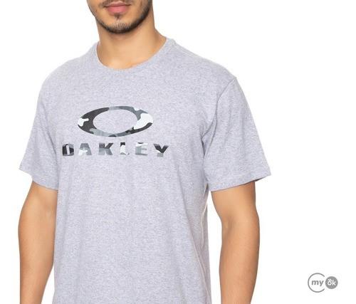 Camisa Masculina Oakley Logotipo Camuflado O-bark Original