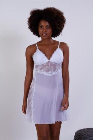 Camisola curta em tule com detalhes em renda - Branco
