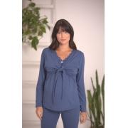 Pijama amamentação em viscose com mangas compridas e calça legging
