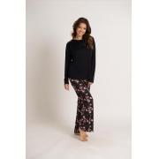 Pijama em liganete com calça estampada