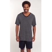 Pijama em liganete masculino estampado - Listrado Preto