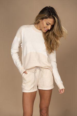 Pijama em reciclato de short e blusa de manga comprida