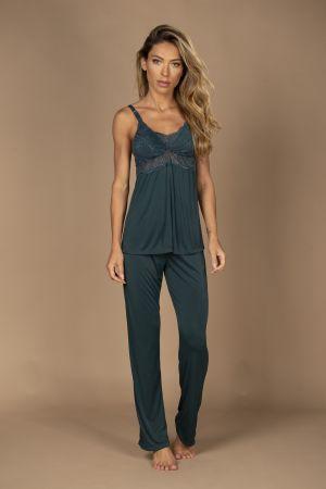 Pijama longo amamentação em liganete com detalhe em renda