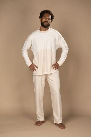 Pijama masculino em reciclato com calça e blusa de manga comprida