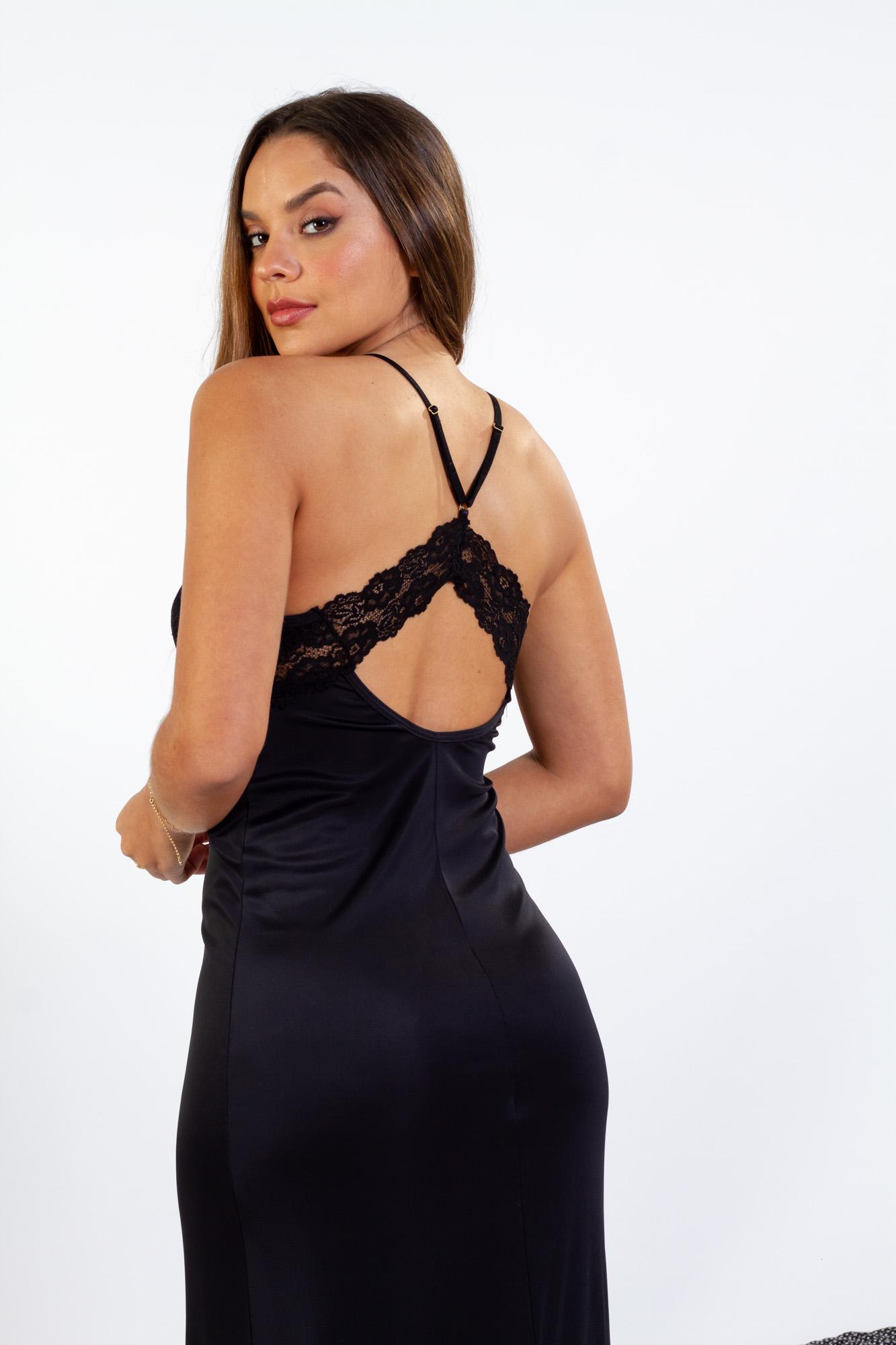 Camisola longa em liganete com detalhes em renda - Preto