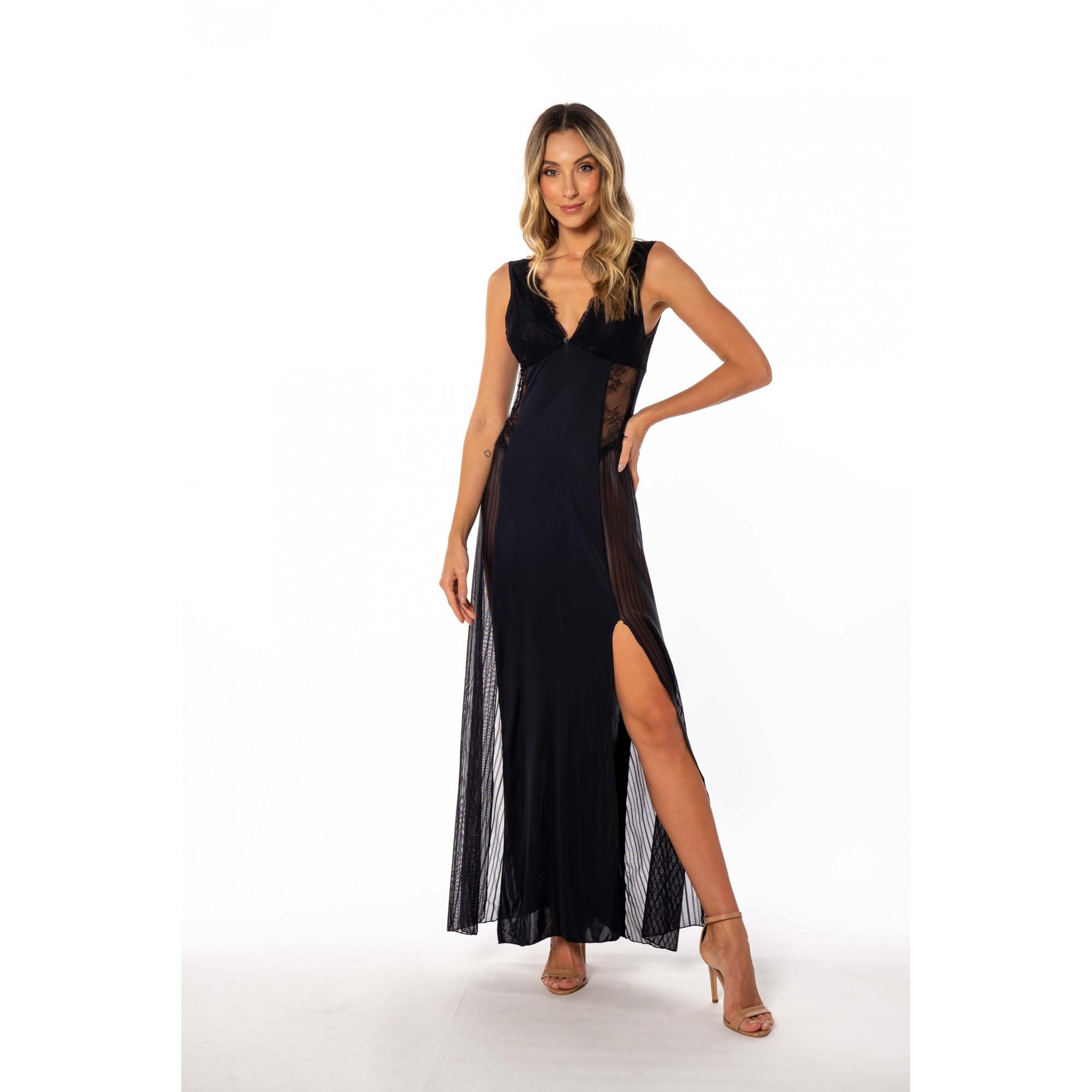 Camisola longa sensual em liganete e tule