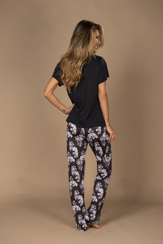 Pijama básico em liganete com calça comprida