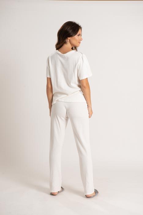 Pijama com mangas curtas em algodão texturizado