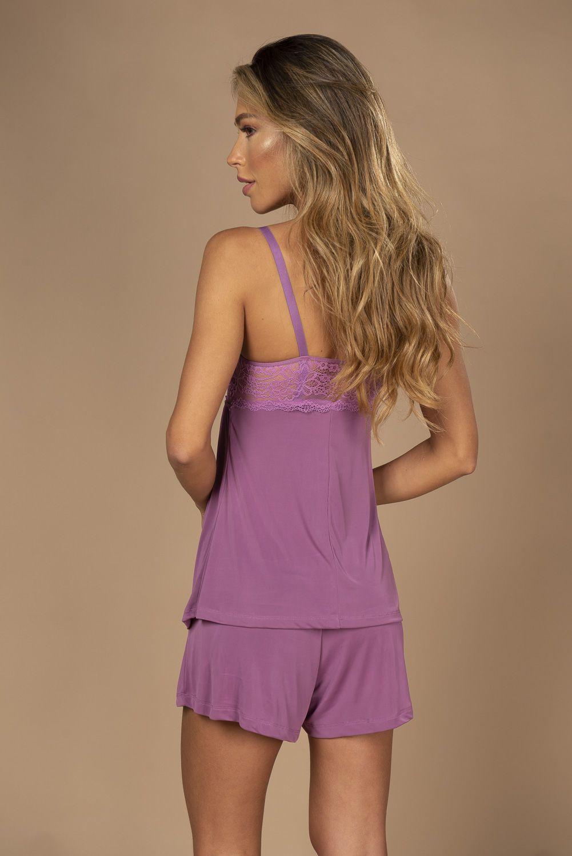 Pijama curto amamentação com detalhe em renda