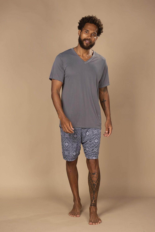 Pijama em liganete masculino estampado