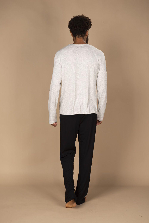 Pijama masculino em viscose de calça e blusa de manga comprida