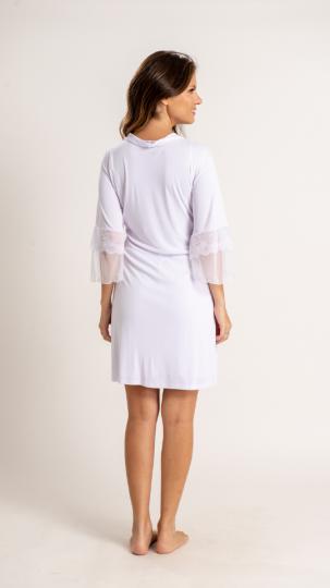 Robe curto em liganete com detalhes em renda e tule na manga - Branco