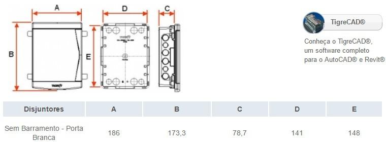 QUADRO P/DISJ EMB S/ BARRAM(03 NEMA/04 DIN)BR