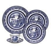 Aparelho De Jantar/Chá 30 Peças Flamingo Blue Willow - Oxford Porcelanas
