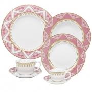 Aparelho De Jantar/Chá/Cafezinho 42 Peças Flamingo Macramê - Oxford Porcelanas