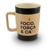Caneca De Cerâmica Coffee To Go ''Foco'' 300Ml - Pardo Fosco Ceraflame