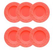 Conjunto 6 Pratos Fundos 23 Cm Mendi Coral - Oxford Daily