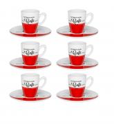 Conjunto 6 Xícaras Com Pires De Café Expresso - Cafeína - Oxford Porcelanas