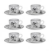Conjunto 6 Xícaras De Chá 220Ml C/ Pires 16Cm Ryo Art - Oxford Porcelanas