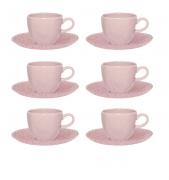 Conjunto 6 Xícaras De Chá 220Ml C/ Pires 16Cm Ryo Pink Sand - Oxford Porcelanas