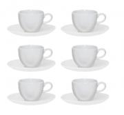 Conjunto 6 Xícaras De Chá 220Ml C/ Pires 16Cm Ryo White - Oxford Porcelanas
