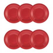 Conjunto C/ 6 Pratos Fundos 23Cm - Floreal Red - Oxford Daily