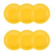 Conjunto C/ 6 Pratos Fundos 23Cm - Floreal Yellow - Oxford Daily