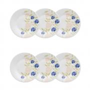 Conjunto C/ 6 Pratos Sobremesa 19Cm - Actual Azul Perfeito  - Oxford Biona