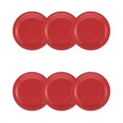 Conjunto C/ 6 Pratos Sobremesa 20Cm - Floreal Red  - Oxford Daily