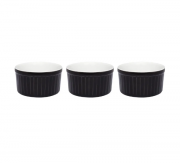 Conjunto Com 3 Tigelas Ramequin 10X5Cm 180Ml - Salgado - Preto - Oxford Cookware