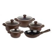Conjunto De Caçarolas De Cerâmica Ceraflame 5 Peças Duo Chocolate