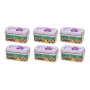 Conjunto De Potes De Acrílico Retangular 600Ml- 5 Peças  - Lavanda - Oxford Daily