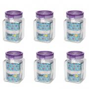 Conjunto De Potes Herméticos De Vidro Quadrado 1500Ml - 6 Peças - Lavanda - Oxford Daily