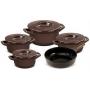 Conjunto De Panelas De Cerâmica Ceraflame  5 Peças Duo+ Smart Chocolate