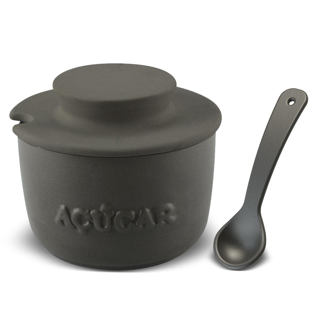 Açucareiro Com Colher De Cerâmica  350GR Ceraflame Gourmet - Grafite