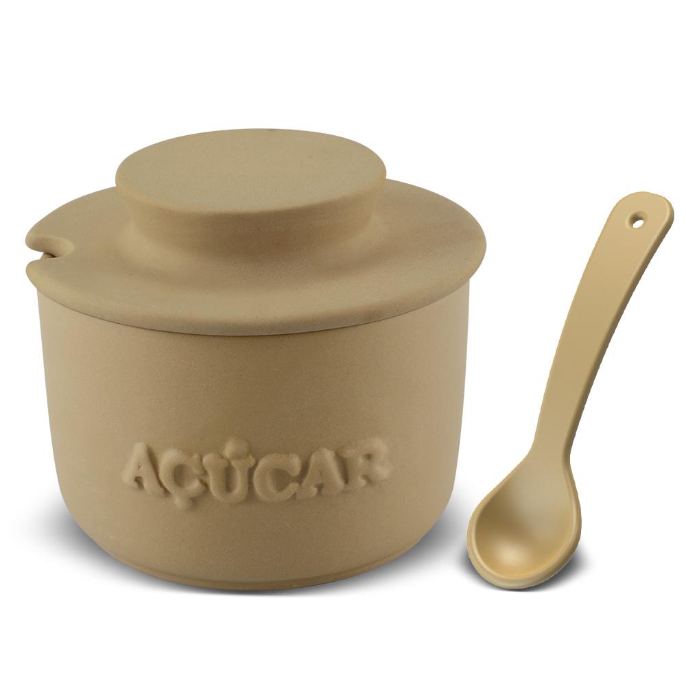 Açucareiro Com Colher De Cerâmica  350GR Ceraflame Gourmet - Ocre