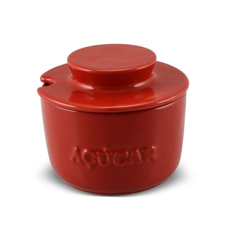 Açucareiro De Cerâmica 350GR MondoCeram Gourmet - Vermelho