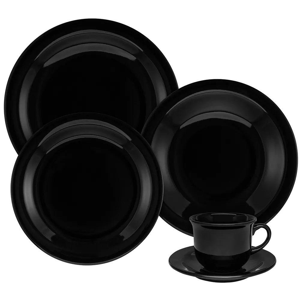 Aparelho De Jantar 20 Peças Floreal Black - Oxford Daily