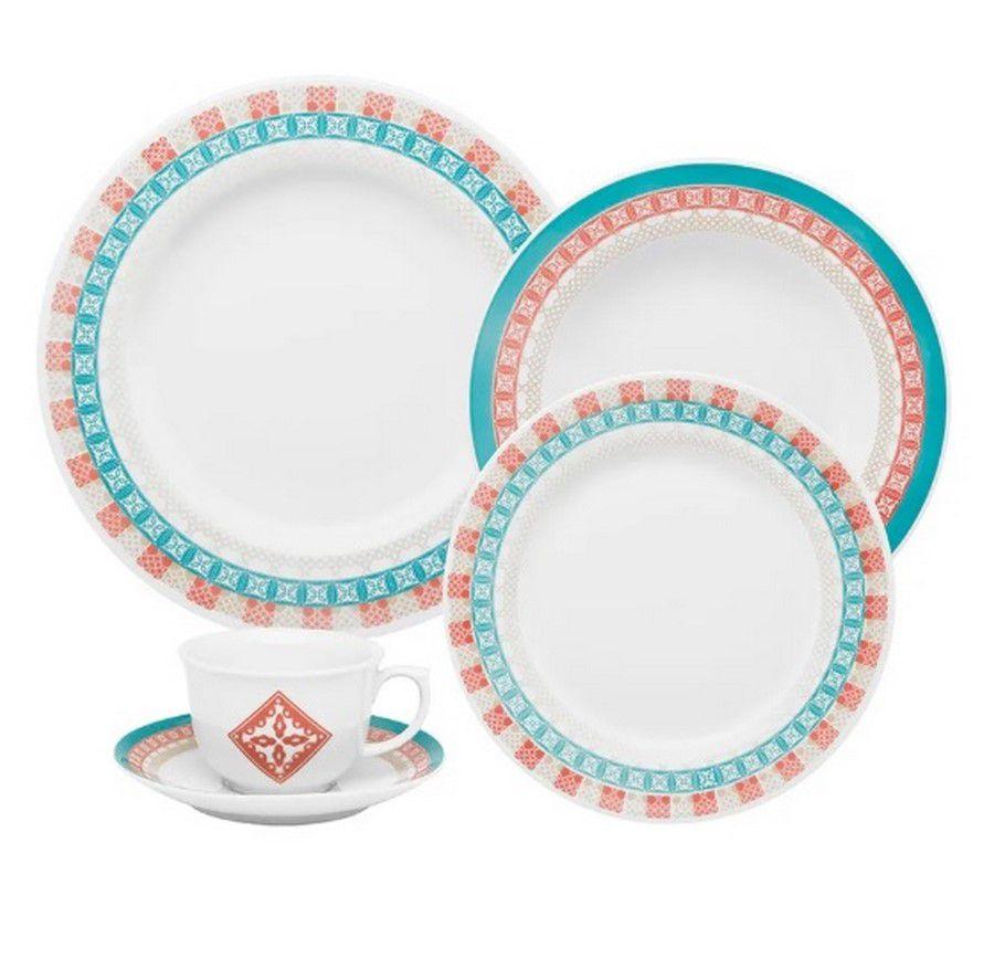 Aparelho De Jantar/Chá 30 Peças Flamingo Colors - Oxford Porcelanas