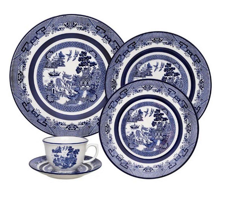 Aparelho De Jantar/Chá 42 Peças Flamingo Blue Willow - Oxford Porcelanas